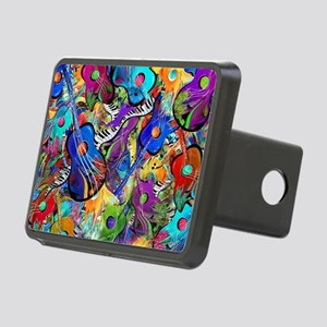 Colorful Painted Guitars C Rectangular Hitch Cover