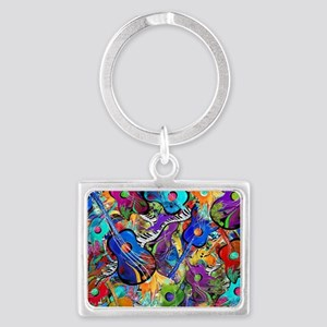 Colorful Painted Guitars Curvy  Landscape Keychain