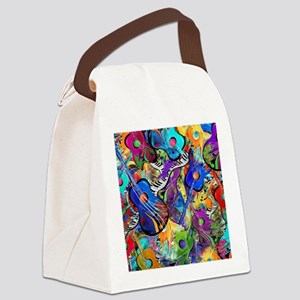 Colorful Painted Guitars Curvy Pi Canvas Lunch Bag