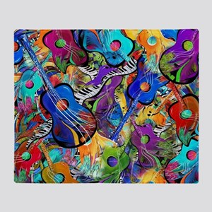 Colorful Painted Guitars Curvy Piano Throw Blanket