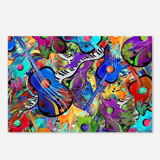 Colorful Painted Guitars  Postcards (Package of 8)