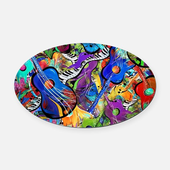 Colorful Painted Guitars Curvy Pia Oval Car Magnet