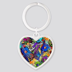 Colorful Painted Guitars Curvy Pian Heart Keychain