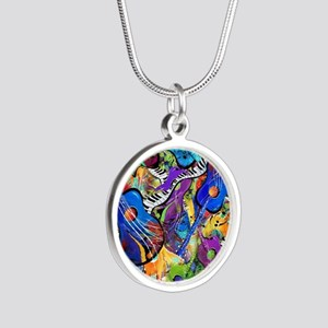 Colorful Painted Guitars Cur Silver Round Necklace