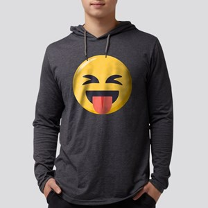 Face with stuck out tongue-Clos Mens Hooded Shirt