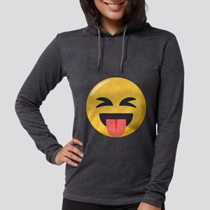 Face with stuck out tongue-Cl Womens Hooded Shirt