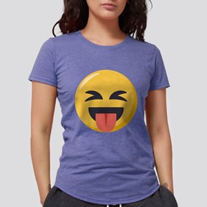 Face with stuck out tong Womens Tri-blend T-Shirt