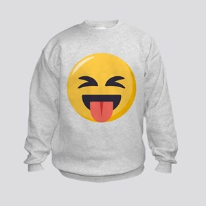 Face with stuck out tongue-Closed Kids Sweatshirt