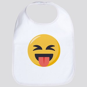 Face with stuck out tongue-Closed Cotton Baby Bib