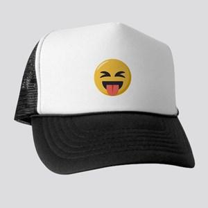 Face with stuck out tongue-Closed eye Trucker Hat