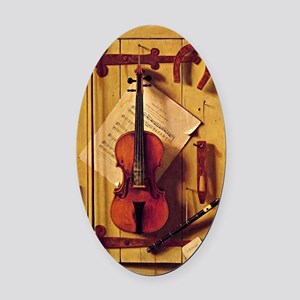 Still Life with Violin and Music - Oval Car Magnet