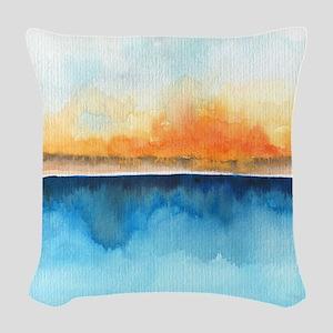Orange Rays Permeate Woven Throw Pillow
