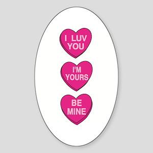 Valentine's Candy Hearts Oval Sticker