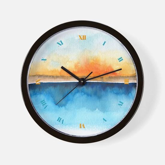 Orange Rays Permeate Wall Clock