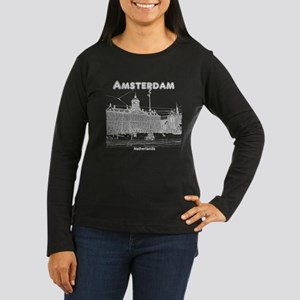 Amsterdam Women's Long Sleeve Dark T-Shirt