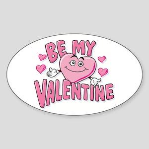 Be My Valentine Pink Heart Oval Sticker