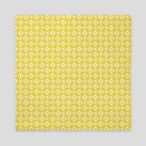 Yellow Floral Pattern Queen Duvet