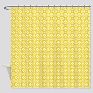 Yellow Floral Pattern Shower Curtain
