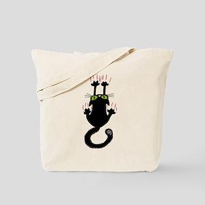 Black Cat Sliding Down Tote Bag