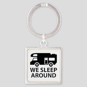 We Sleep Around Square Keychain