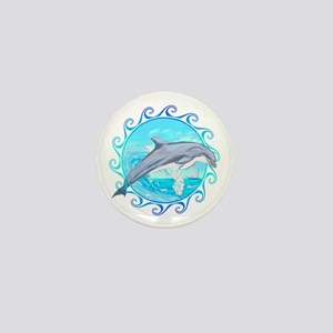 Dolphin Maori Sun Mini Button