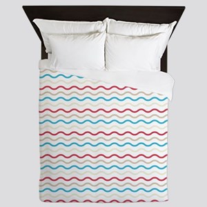 Red And Blue Waves Queen Duvet