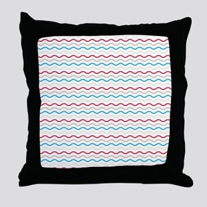 Red And Blue Waves Throw Pillow