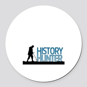 Metal Detecting History Hunter Round Car Magnet