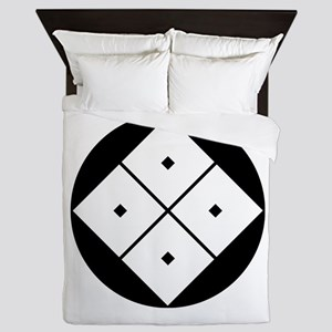 Tilted four-square-eyes in rice cake Queen Duvet