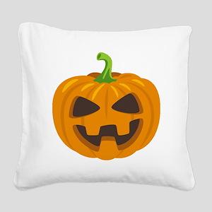 Jack-O-Lantern Emoji Square Canvas Pillow