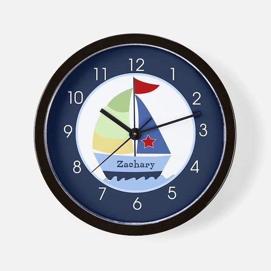 Navy Sailboat Nautical Wall Clock - Add A Name