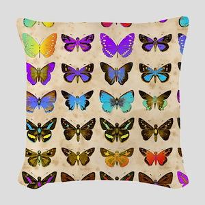 Rainbow butterflies 2 Woven Throw Pillow