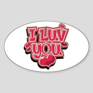 I Luv You Oval Sticker