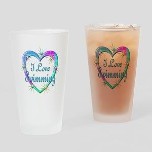 I Love Swimming Drinking Glass