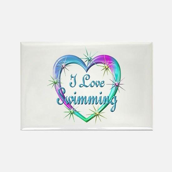 I Love Swimming Rectangle Magnet