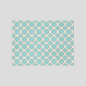 Quatrefoil Turquoise White and Orange 5'x7'Area Ru