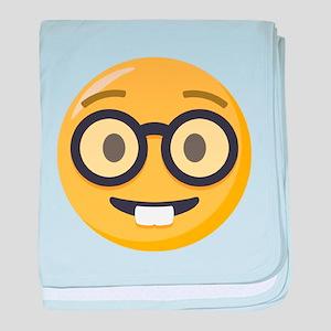 Nerd-face Emoji baby blanket