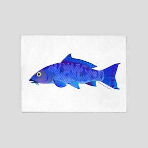 Blue Koi carp 5'x7'Area Rug