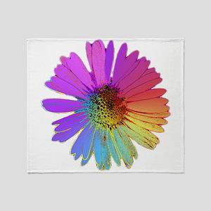 rainbow daisy Throw Blanket