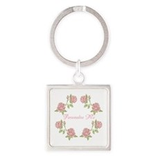 Personalized Rose Square Keychain