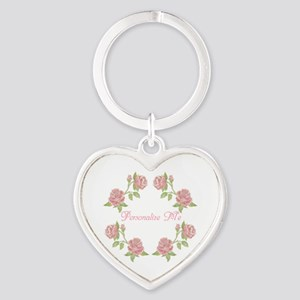 Personalized Rose Heart Keychain