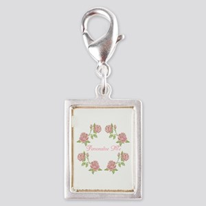 Personalized Rose Silver Portrait Charm