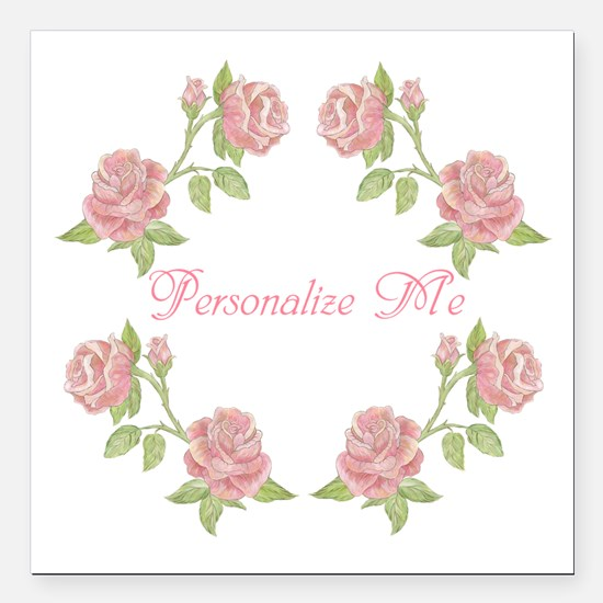 "Personalized Rose Square Car Magnet 3"" x 3"""