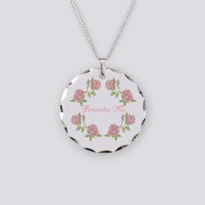 Personalized Rose Necklace Circle Charm