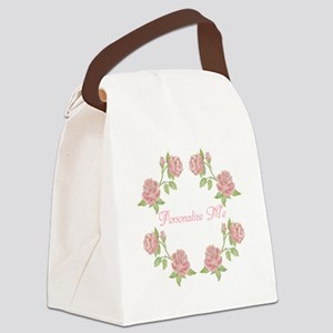 Personalized Rose Canvas Lunch Bag