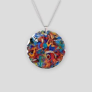 Music Trio Curvy Piano Color Necklace Circle Charm