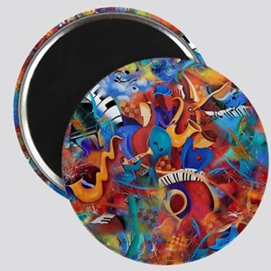 Music Trio Curvy Piano Colorful Abstract Mu Magnet