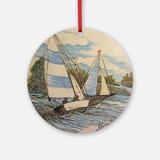 Hand Drawn Sailboats Ornament (Round)