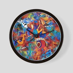 Music Trio Curvy Piano Colorful Abstrac Wall Clock