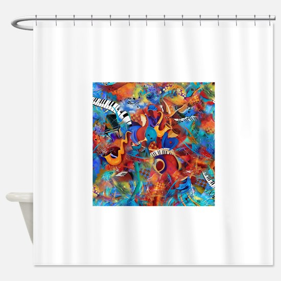Music Trio Curvy Piano Colorful Abs Shower Curtain